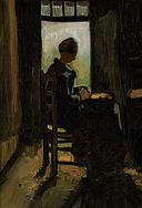 Vincent van Gogh - Peasant woman seated before an open door, peeling potatoes (1885).jpg