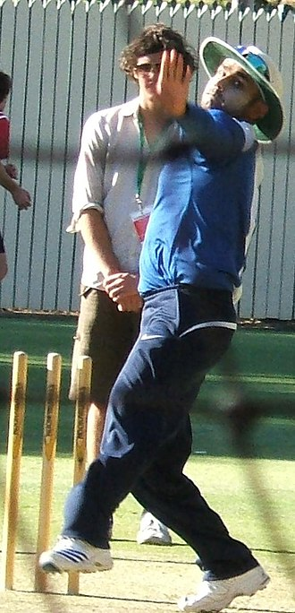 Virender Sehwag - Sehwag bowling in the nets.