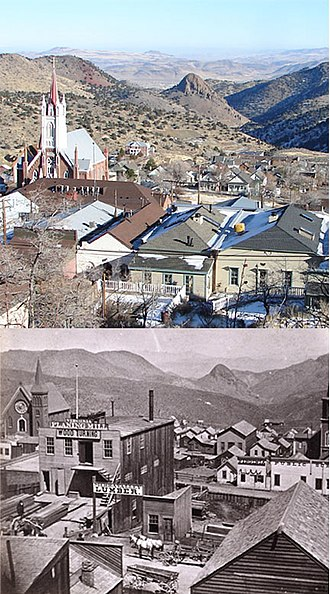Virginia City, Nevada - Virginia City in early 1870s and in 2007. The church at left is St. Mary's in the Mountains Catholic Church. It was rebuilt in 1875 after a great fire burned down 90% of Virginia City. Historic photo is of the pre-fire church.