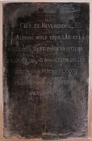 Visitation of Mary Church (Ljubljana) - Image: Visitation Church Ljubljana SW plaque