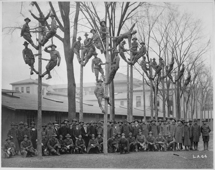 Students learn pole climbing in course for telephone electricians, c. 1918