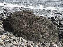 Lord Howe Island-Basalts and calcarenite-Volcanic breccia Mt Lidgbird beach Lord Howe Island 10June2011