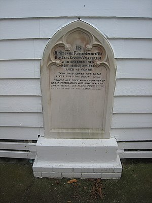 Carl Sylvius Völkner - Völkner's gravestone now stands embedded in the Opotiki church wall