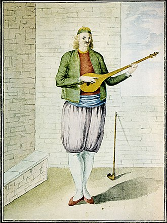 Greek folk music - A Greek of the 18th century playing tambouras.