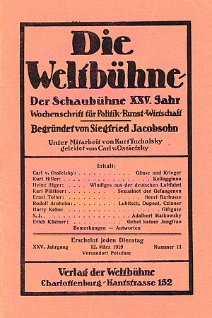 Siegfried Jacobsohn - Cover of Die Weltbühne, 1929