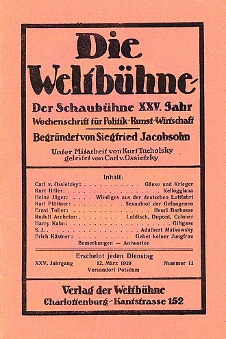 Carl von Ossietzky - Weltbühne cover, 12 March 1929
