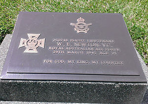 Lae War Cemetery - Photo of W.E Newton headstone. VC recipient at Lae War Cemetery