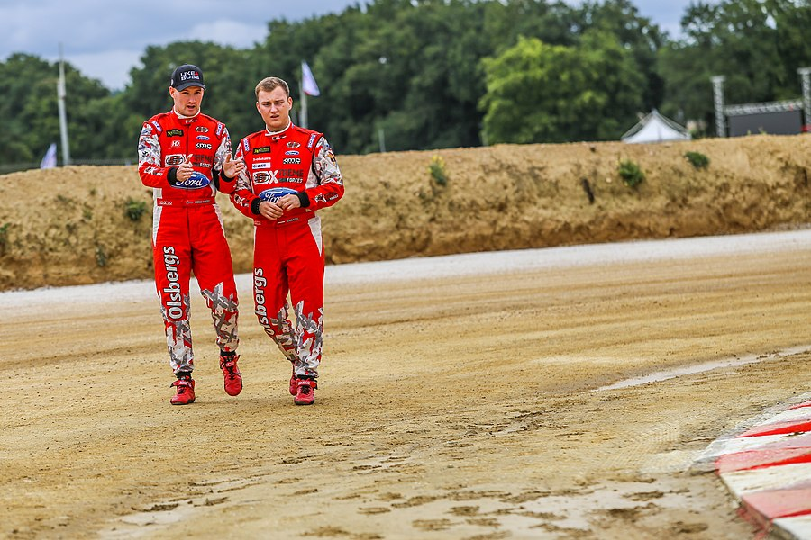 Olsberg MSE teammates Andreas Bakkerud (left) and Reinis Nitišs do a track walk of Circuit de Lohéac. Round 9 of the 2015 FIA World Rallycross Championship.