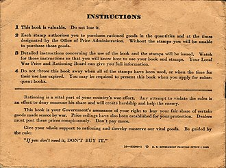Rationing in the United States - Image: WWII USA Ration Book 3 Back