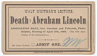 Walt Whitmans lectures on Abraham Lincoln Series of lectures between 1879 and 1890