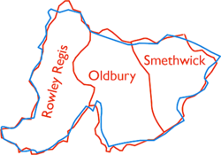 Map of the County Borough of Warley. The boundary of Warley is shown in blue and of the constituent boroughs in red.