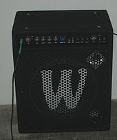 A combination bass amplifier/speaker cabinet with both a loudspeaker and a tweeter. The tweeter is mounted in a horn.