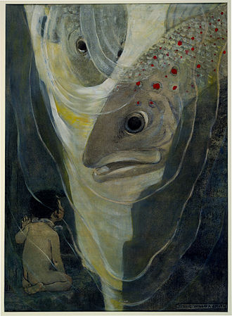 "The Water-Babies, A Fairy Tale for a Land Baby - ""Oh, don't hurt me!"" cried Tom. ""I only want to look at you; you are so handsome.""  Illustration by Jessie Willcox Smith c. 1916. Charcoal, water, and oil. Digitally restored."