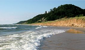 Water and Covered Dune, Looking North, Saugatuck Dunes State Park, Michigan.jpg