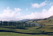 The River Ure in Wensleydale, by Burtsett, breaks its banks during floods in 1994; photo by Gordon Hatton.