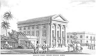 Broadway, Chennai - Wesleyan Chapel, Popham's Broadway, Madras (January 1848, p.1, V)