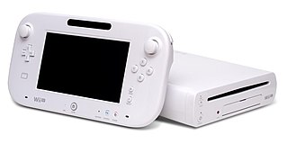 A tablet-like controller and the console in question.