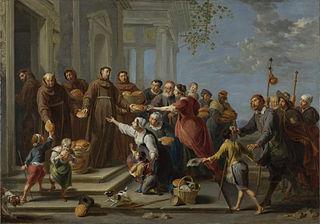 Saint Anthony of Padua (?) distributing Bread