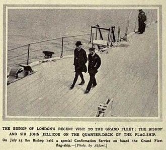 Arthur Winnington-Ingram - Winnington-Ingram on a visit to the Royal Navy flagship in 1916 (Illustrated War News)