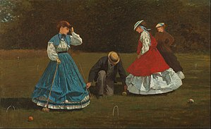1860s in Western fashion - Croquet players of 1864 loop their skirts up from floor-length over hooped petticoats. Small hats with ribbon streamers were very popular for young women in the mid-1860s.