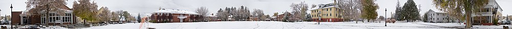 Panorama of Wasatch Academy main campus in winter