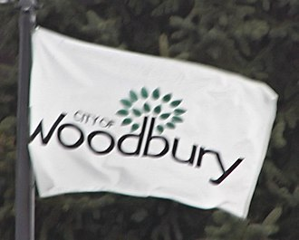 Woodbury, Minnesota - The Woodbury city flag fluttering