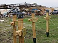 Wooden crosses at the Plaza Towers Elementary School in Moore, Okla., May 28, 2013, stand in memory of the seven students were killed during a tornado May 20, 2013 130528-Z-VF620-4045.jpg
