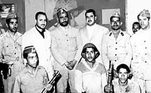 North Yemen Civil War - Abdullah Sallal (center) and the heads of the coup in October, 1962