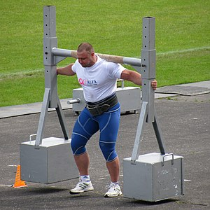 English: Strongmen event: the Yoke Walk or the...