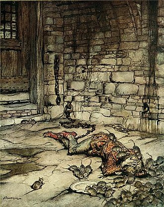 Young Beichan - Illustration by Arthur Rackham: Young Beckie in prison.