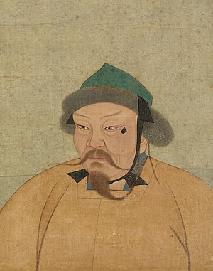 Ögedei Khan - A portrait of Ögedei produced during the Yuan dynasty. Original size is 47 cm wide and 59.4 cm high. Paint and ink on silk. Now located in the National Palace Museum, Taipei, Taiwan.