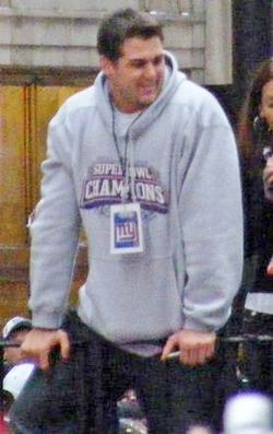 Zak DeOssie at Super Bowl XLII victory parade.jpg
