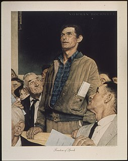 <i>Four Freedoms</i> (Norman Rockwell) A series of four 1943 oil paintings by the American artist Norman Rockwell