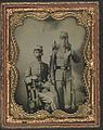 (Two unidentified soldiers in Confederate uniforms with sword, bayoneted musket, and knapsack) (LOC) (14379007118).jpg