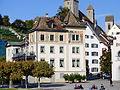 (Unteres) Curti-Haus und Haus Schlossberg in Rapperswil, Anischt vom Dampfschiff Stadt Rapperswil der Zürichsee-Schifffahrtsgesellschaft 2013-09-13 17-12-27.JPG