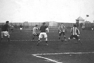 Knattspyrnufélag Reykjavíkur - KR playing Fram in the inaugural Icelandic football season in 1912.