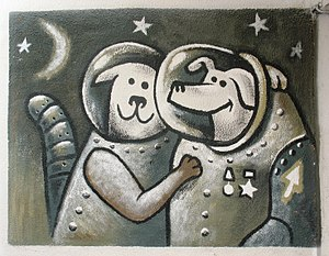 Soviet space dogs - Belka and Strelka in graffiti. 2008