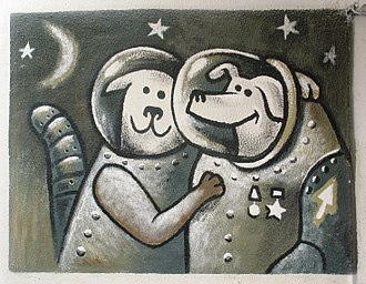 Soviet space dogs - Belka and Strelka in graffiti. 2008
