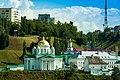 Благовещенский монастырь на фоне набережной, вид с моста.jpg