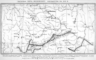 Zasechnaya cherta - Map of Zasechnaya cherta in 17th century