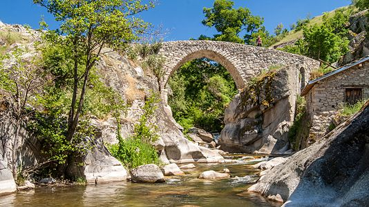 The Stone Bridge in the village of Zoviḱ, Macedonia