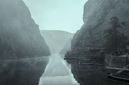 Matka Canyon in fog