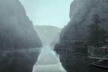 Matka Canyon in fog