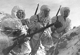 Sniper - Vasily Zaytsev, left, and Soviet snipers equipped with Mosin-Nagant M1891/30 during the Battle of Stalingrad in December 1942.