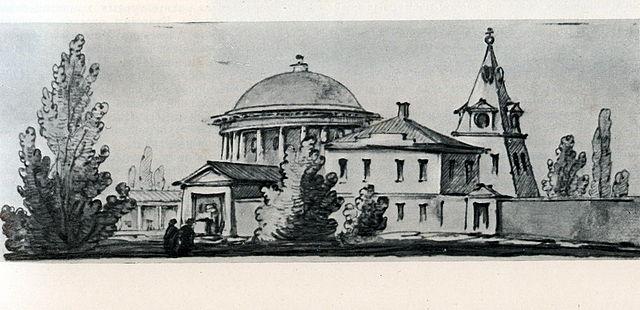 Свято-Троицкая церковь, рисунок Джакомо Кваренги.