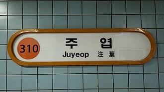 Juyeop station - 주엽역 역명판 Juyeop metro station Line 3 Seoul