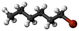 Ball and stick model of 1-bromohexane