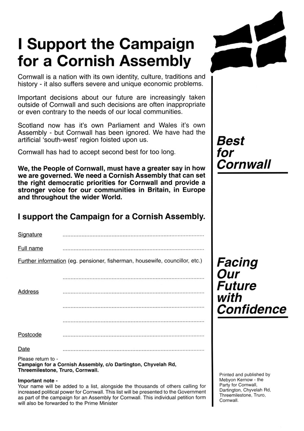 1. Declaration for a Cornish Assembly