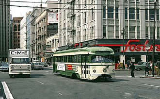 Bickford's (restaurant) - A streetcar passing a Foster's in San Francisco in 1970