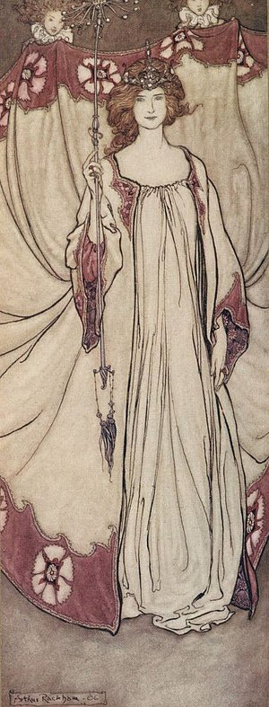 Queen Mab - Queen Mab, illustration by Arthur Rackham (1906)